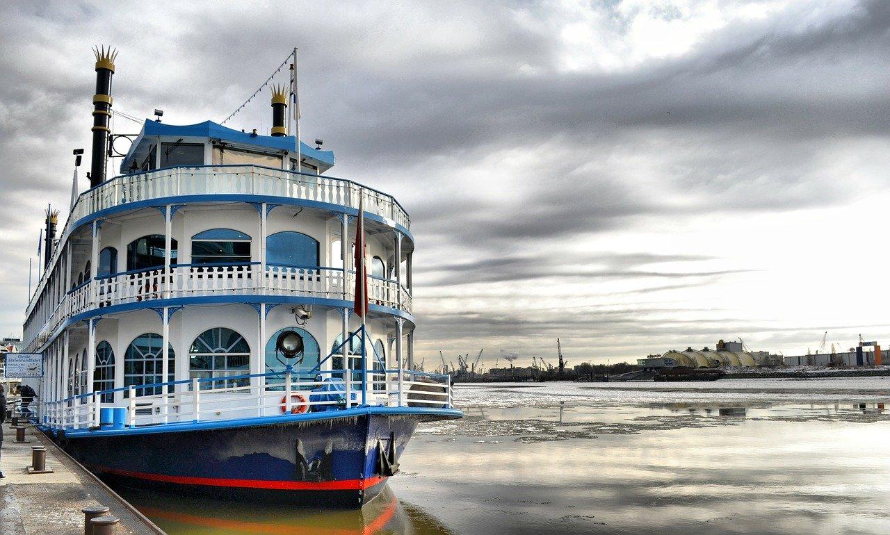 ship, port, paddle steamer